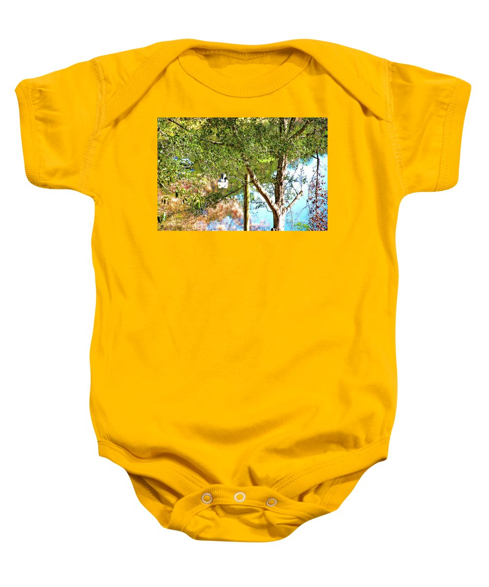 Lake Baby Onesie featuring the photograph Lake Lamp by Gina O'Brien