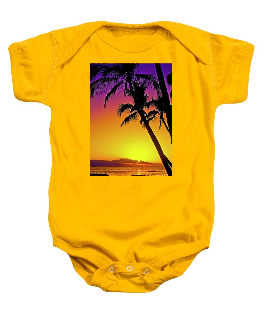 Sunset Baby Onesie featuring the photograph Lanai Sunset II Maui Hawaii by Jim Cazel