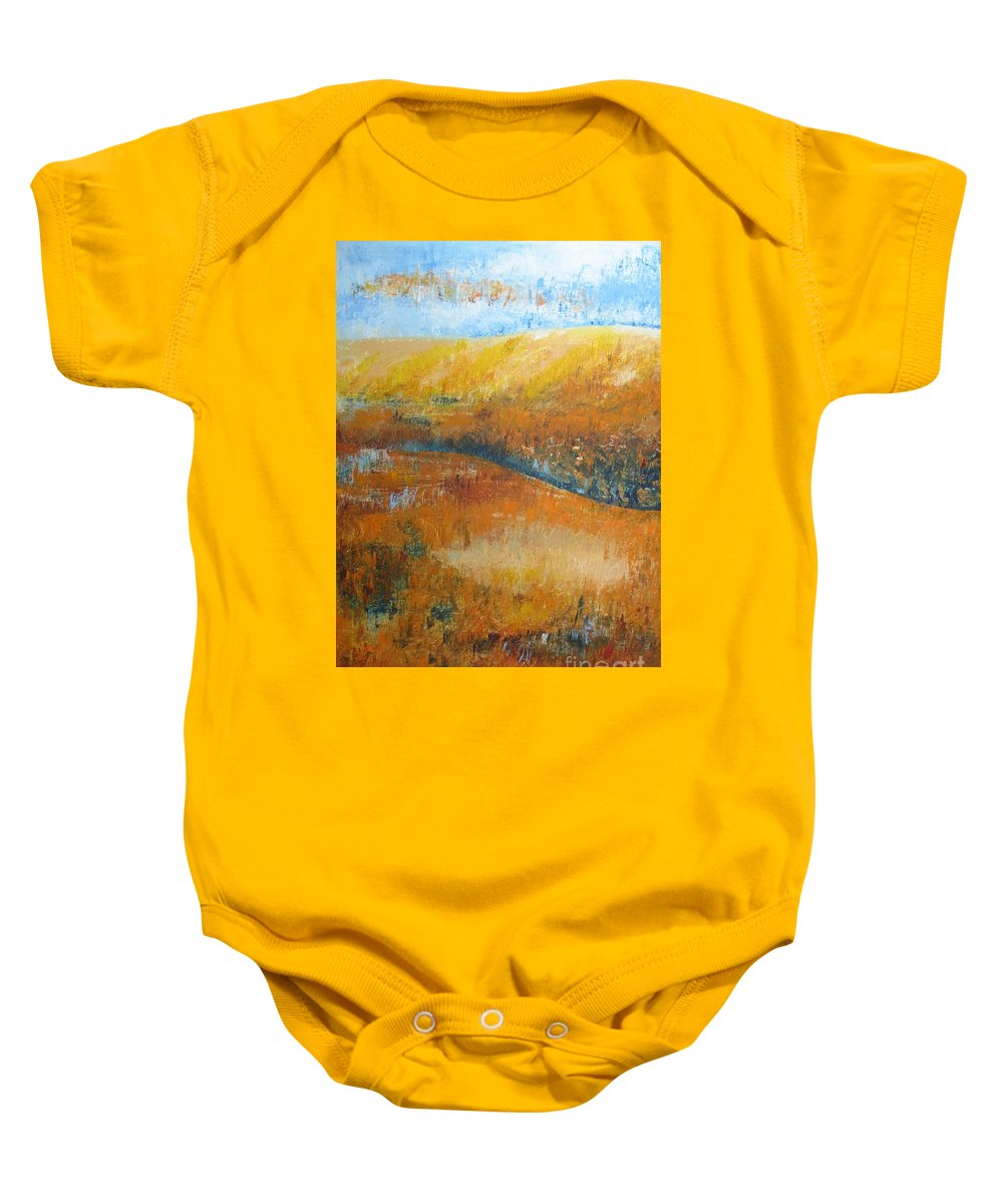 Landscape Baby Onesie featuring the painting Land Of Richness by Stella Velka