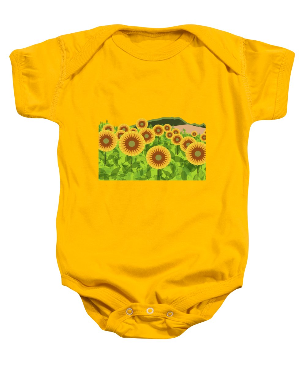 Sunflowers Baby Onesie featuring the digital art Land Of Sunflowers. by Absentis Designs
