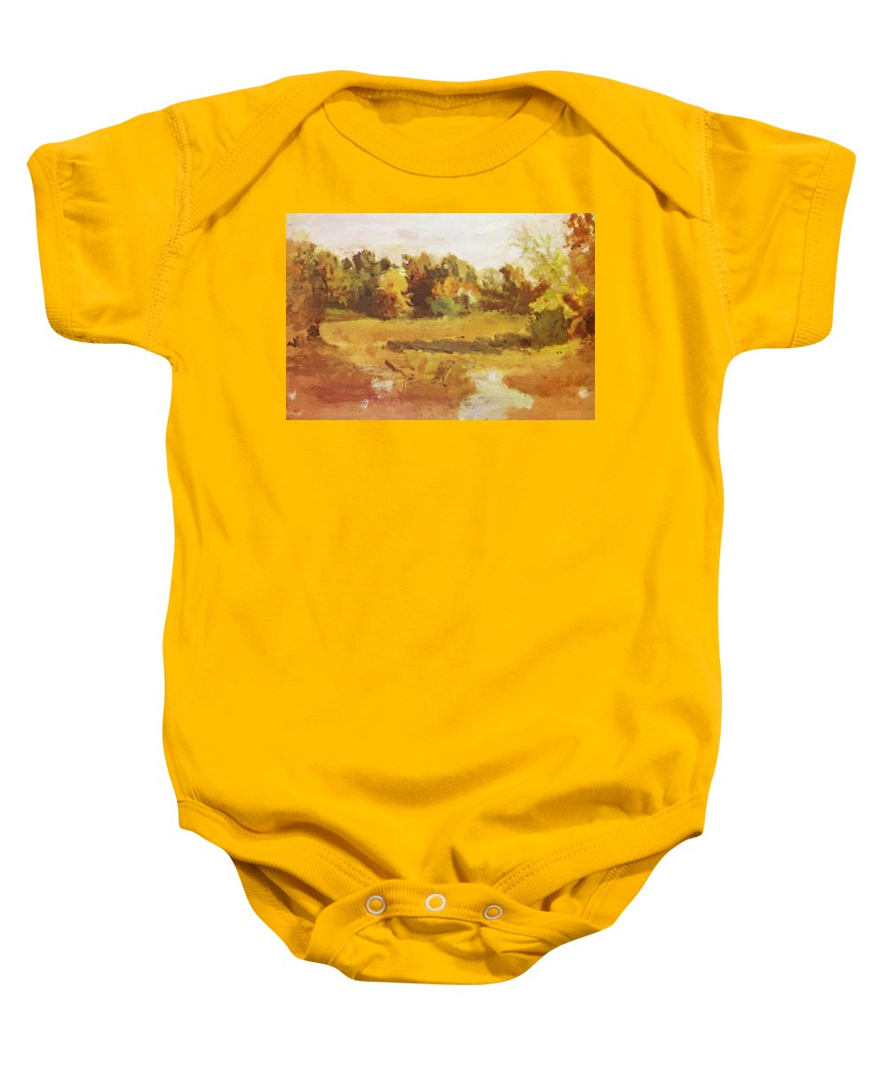 Landscape Baby Onesie featuring the painting Landscape 1884 by Eakins Thomas