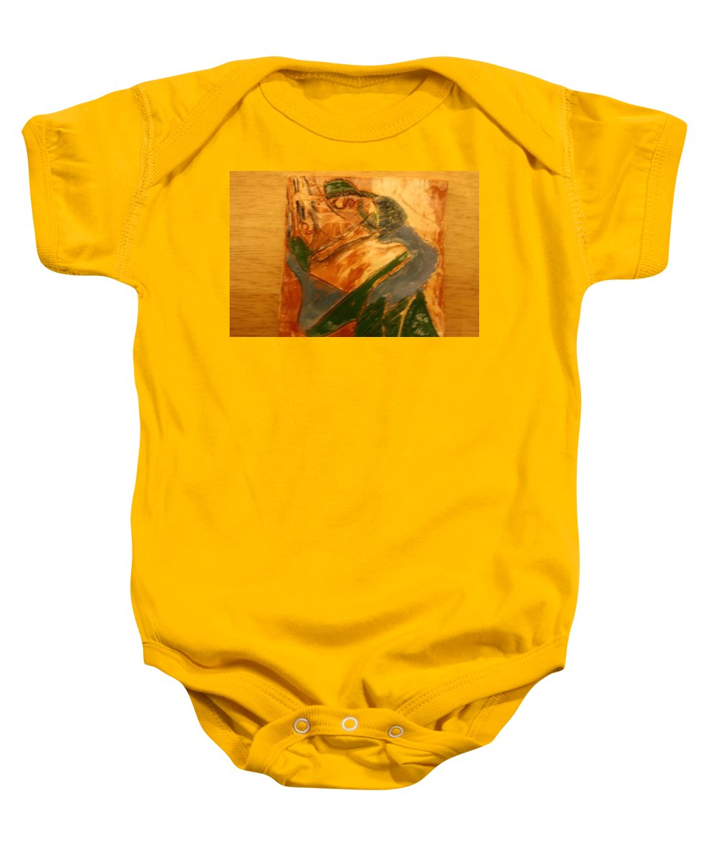 Jesus Baby Onesie featuring the ceramic art Laughter - Tile by Gloria Ssali