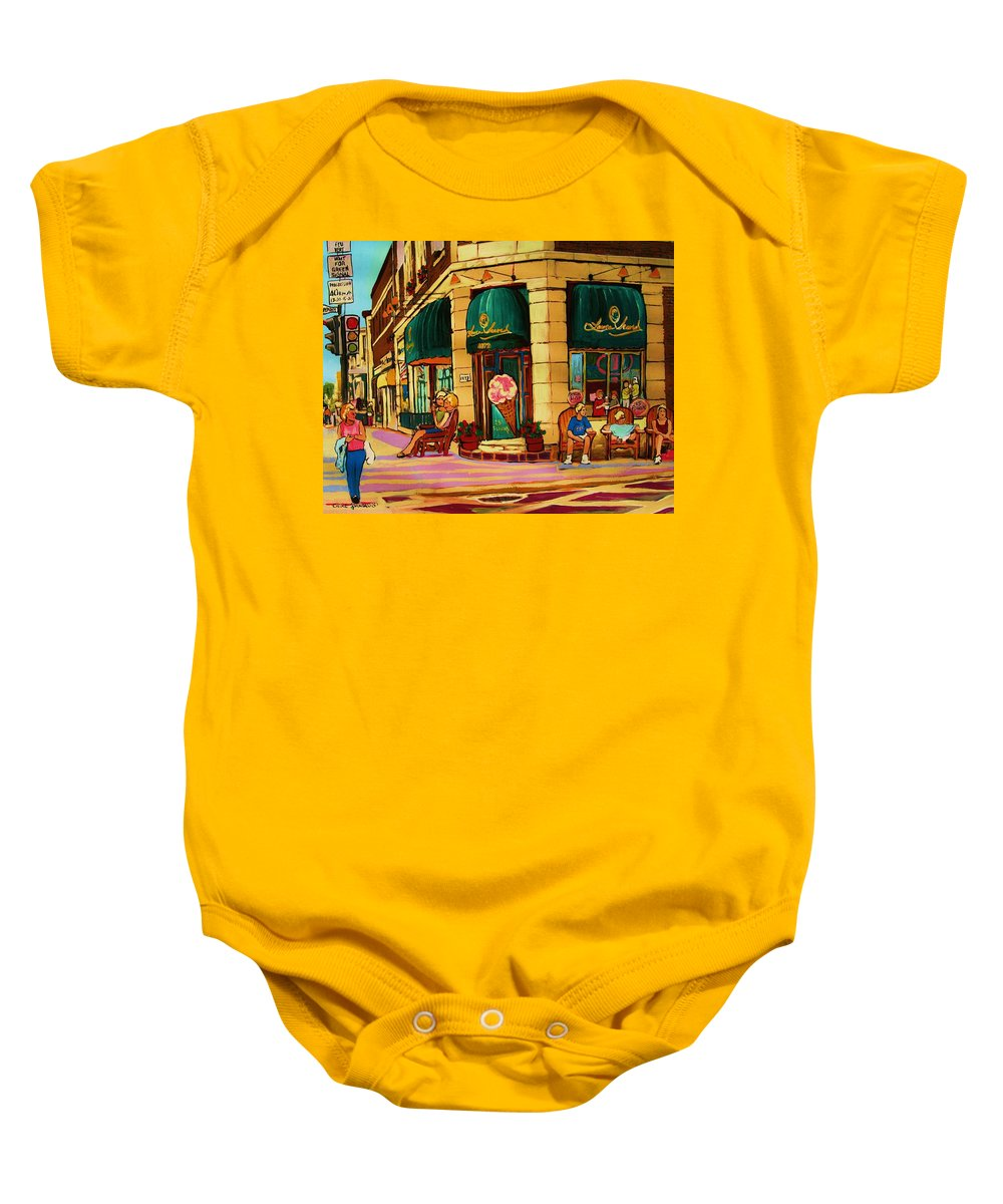 Montreal Streetscenes Baby Onesie featuring the painting Laura Secord Candy And Cone Shop by Carole Spandau