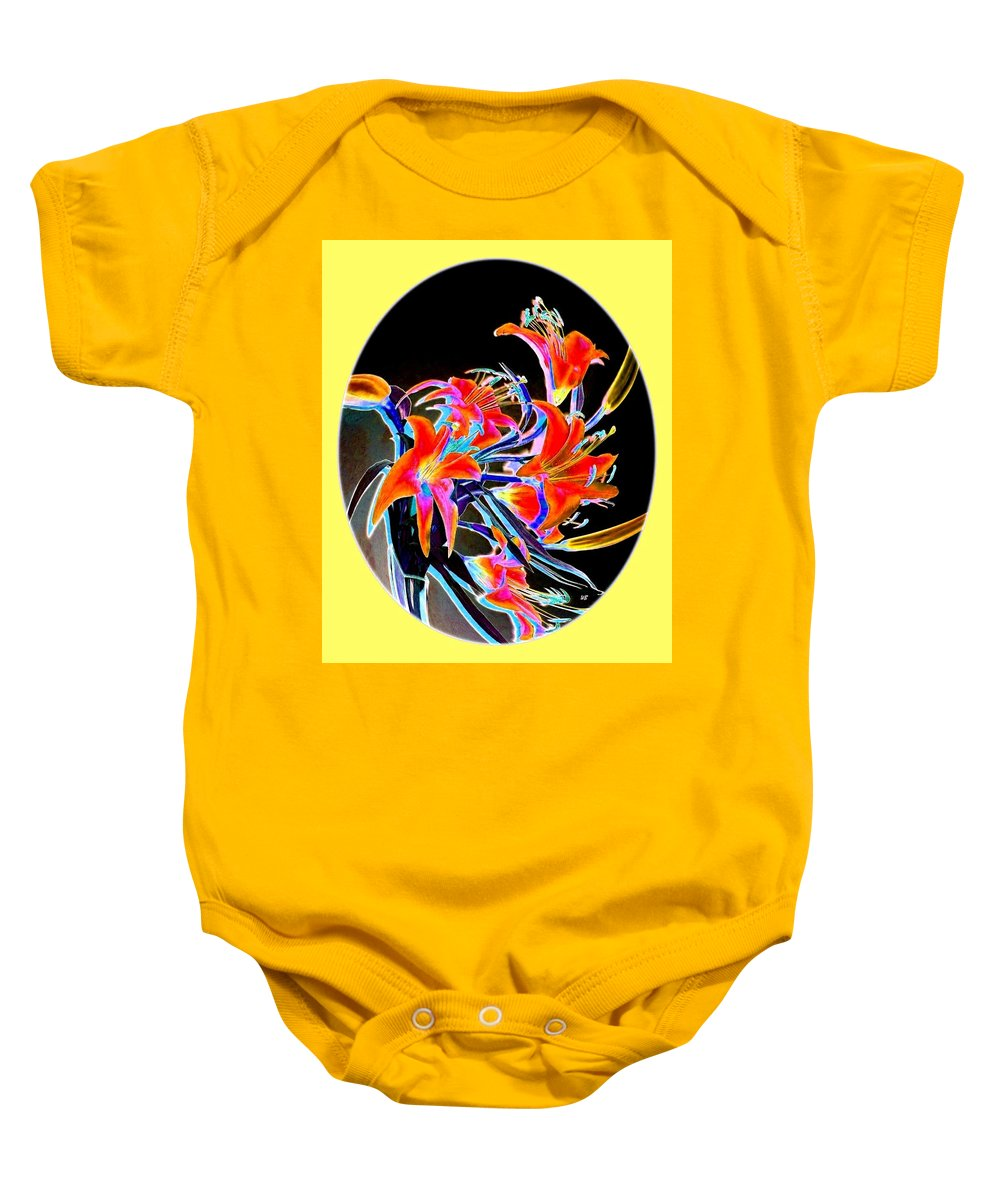 Lilies Baby Onesie featuring the digital art Lavish Lilies 2 by Will Borden