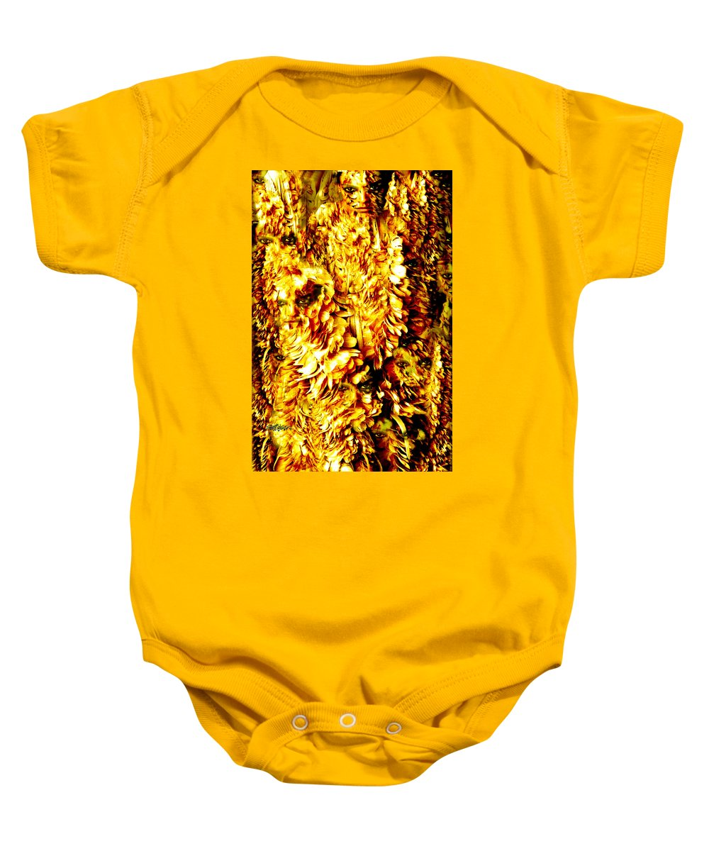Feathers Baby Onesie featuring the digital art Le Flock by Seth Weaver