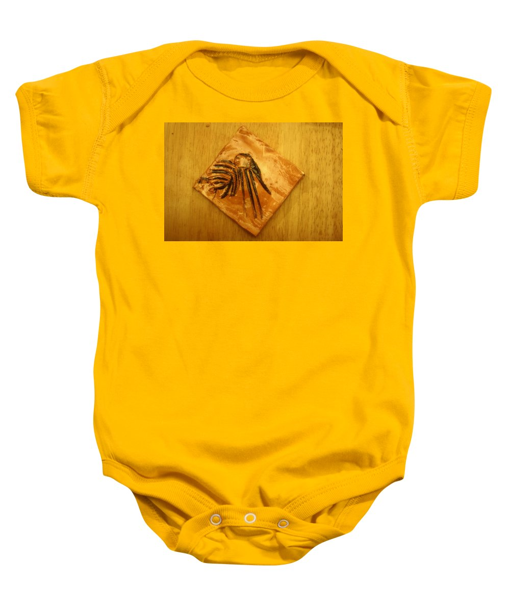 Jesus Baby Onesie featuring the ceramic art Lead On - Tile by Gloria Ssali