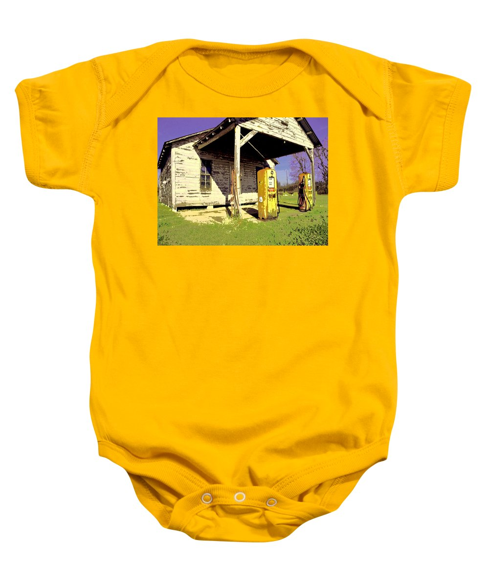 Old Gas Station Baby Onesie featuring the mixed media Leaded Special by Dominic Piperata