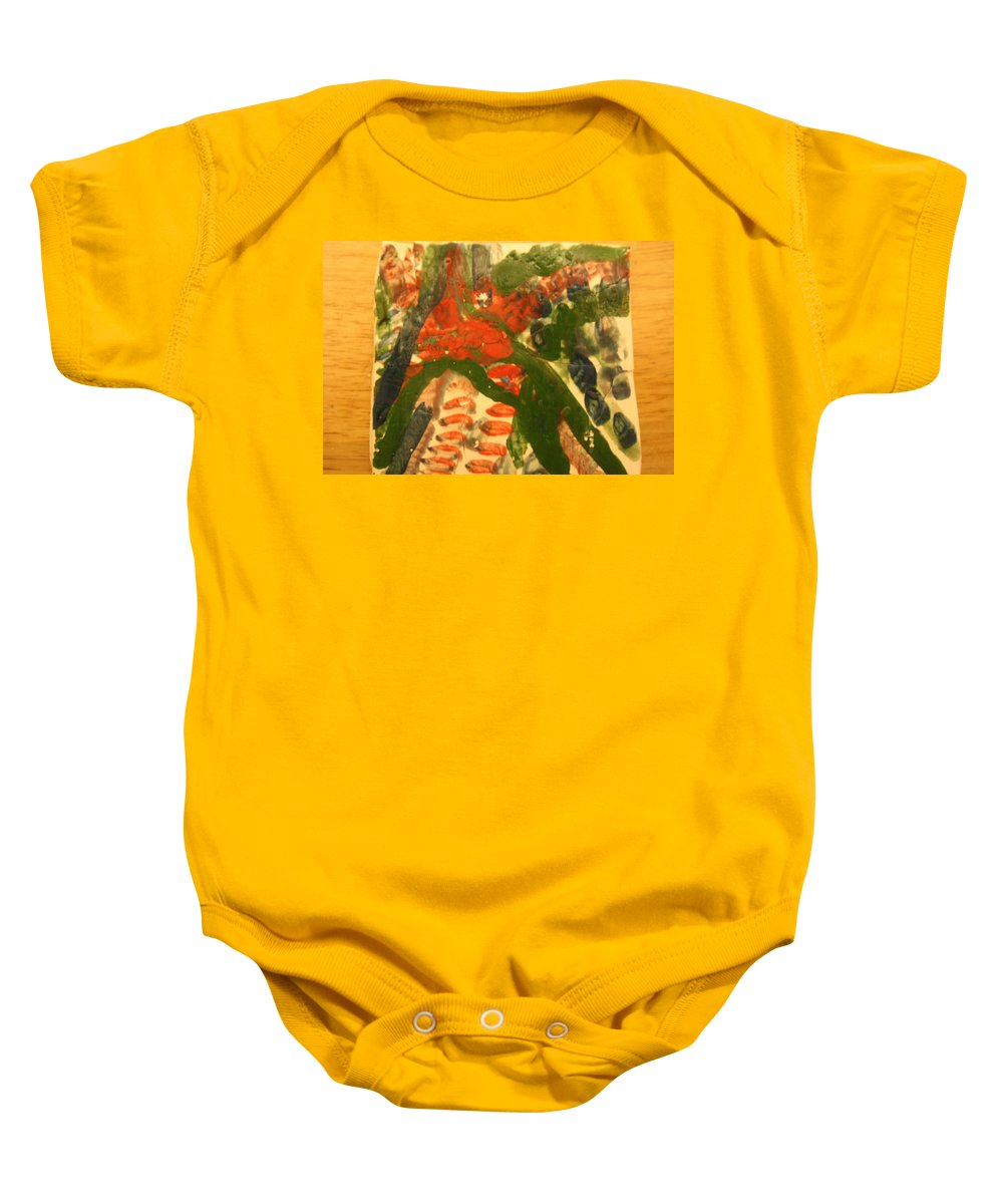 Jesus Baby Onesie featuring the ceramic art Lean Over - Tile by Gloria Ssali