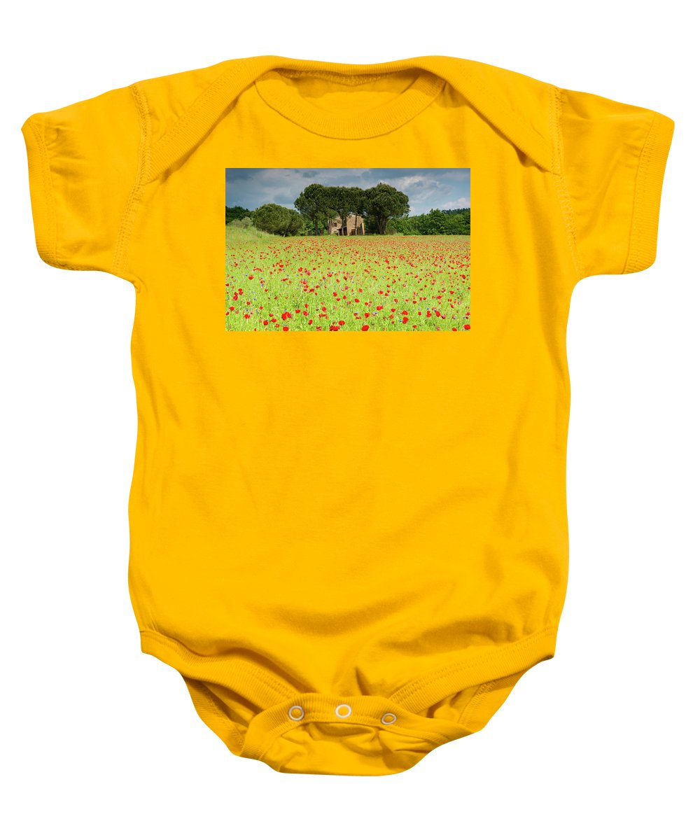 Europe Baby Onesie featuring the photograph Leaning Farmhouse by Michael Blanchette