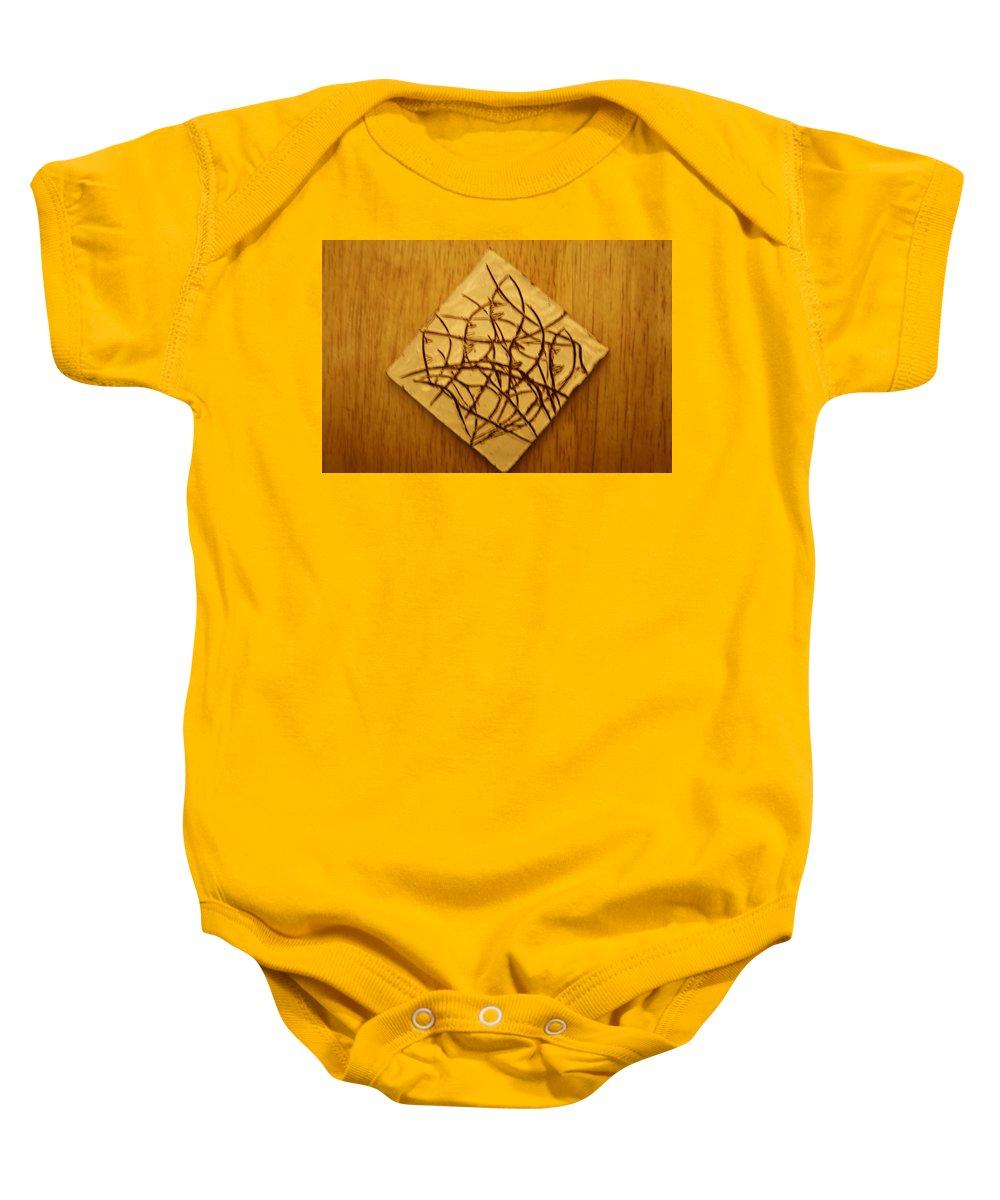 Jesus Baby Onesie featuring the ceramic art Leaves - Tile by Gloria Ssali