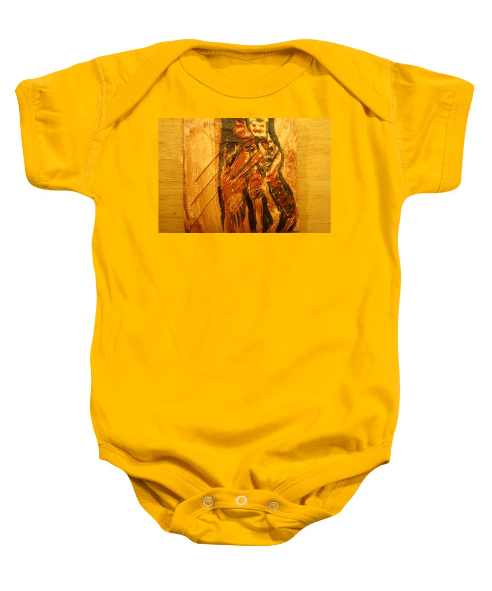Jesus Baby Onesie featuring the ceramic art Legless - Tile by Gloria Ssali