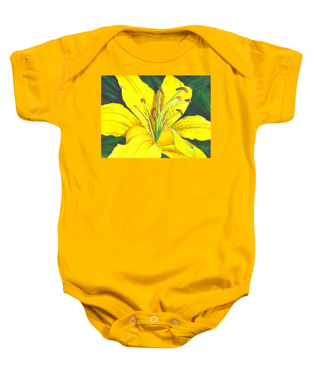 Lily Baby Onesie featuring the painting Lemon Lily by Catherine G McElroy