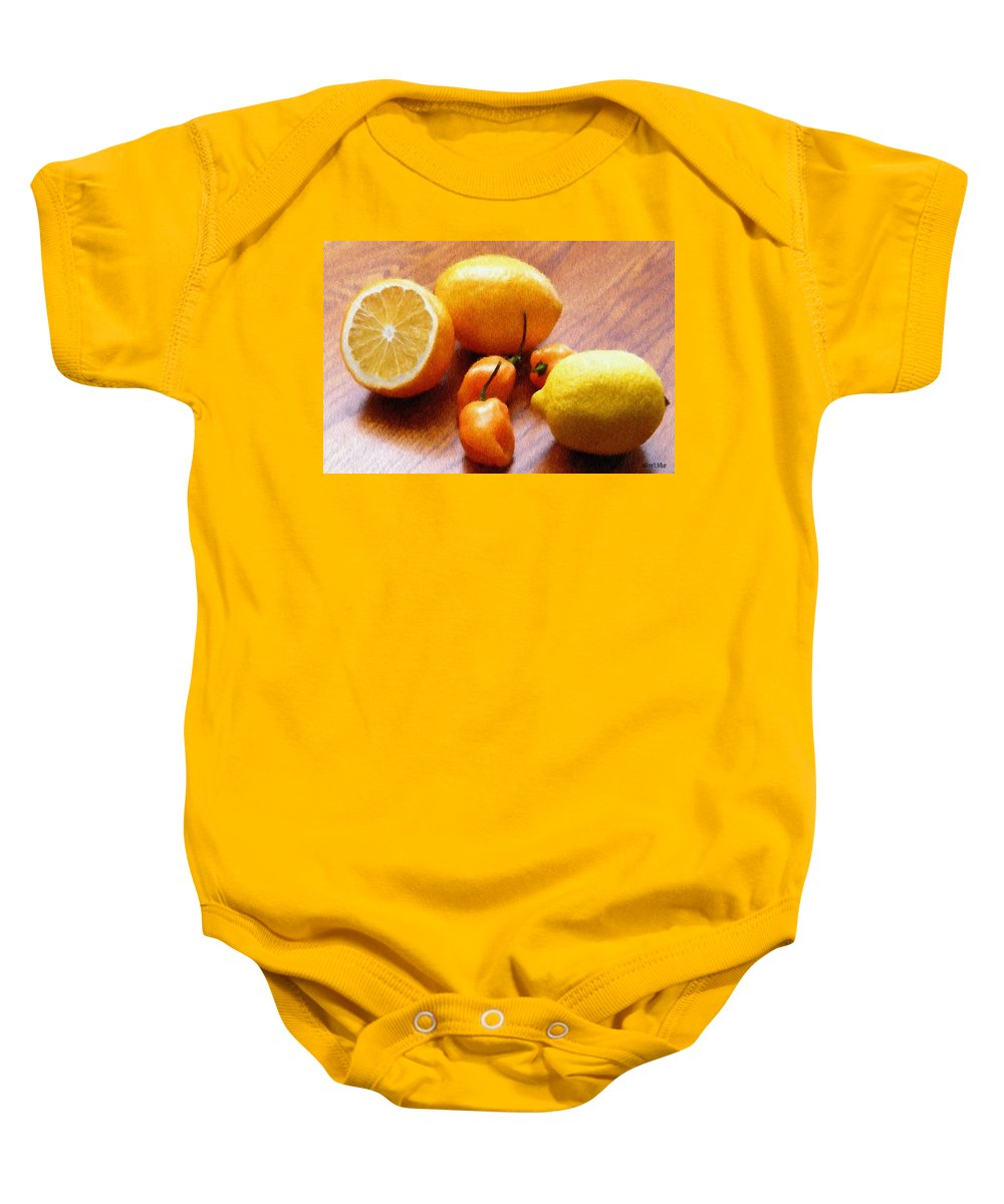 Food Baby Onesie featuring the painting Lemons And Peppers by Jeffrey Kolker