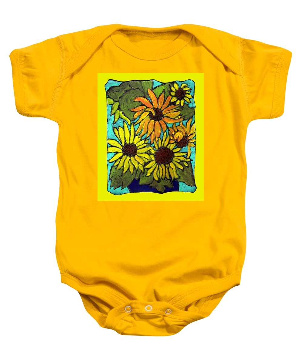 Yellow Baby Onesie featuring the painting Let The Sunshine In by Wayne Potrafka