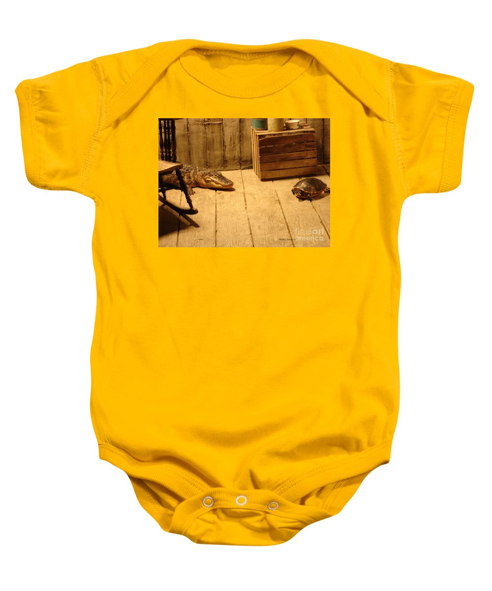 Turtle Baby Onesie featuring the photograph Lets Be Friends by Shelley Jones