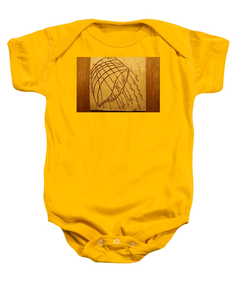 Jesus Baby Onesie featuring the ceramic art Levels - Tile by Gloria Ssali