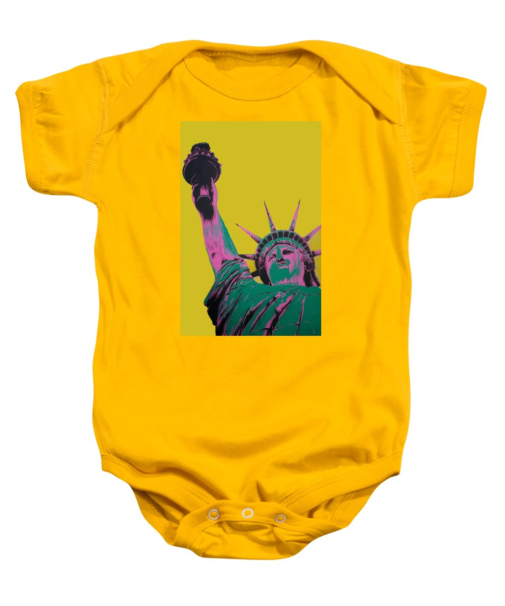 Statue Of Liberty Baby Onesie featuring the painting Liberty by Gary Hogben