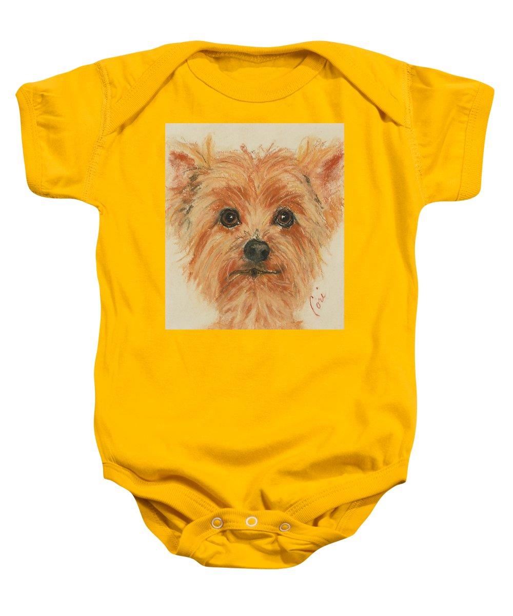Pastel Baby Onesie featuring the drawing Lil Rascal by Cori Solomon