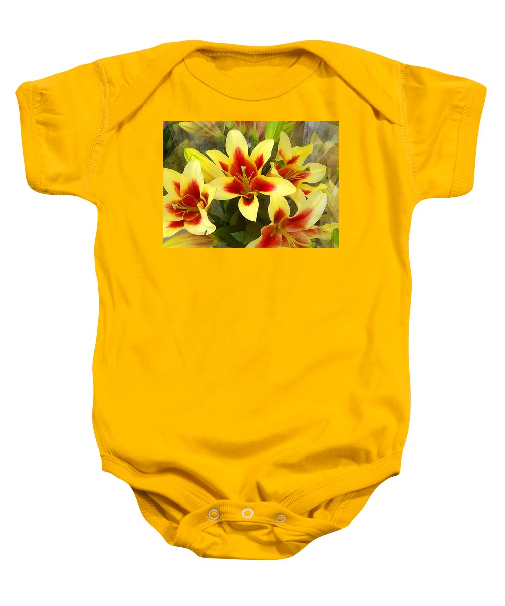 Spring Baby Onesie featuring the painting Lilies by Amy Vangsgard