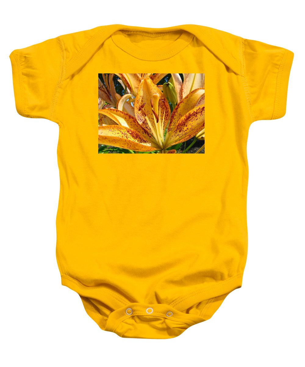 Lilies Baby Onesie featuring the photograph Lilies Art Prints Orange Lily Flowers 2 Gilcee Prints Baslee Troutman by Baslee Troutman