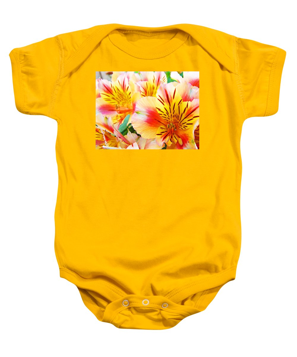 Lilies Baby Onesie featuring the photograph Lilies Art Prints Pink Yellow Lily Flowers 1 Giclee Prints Baslee Troutman by Baslee Troutman
