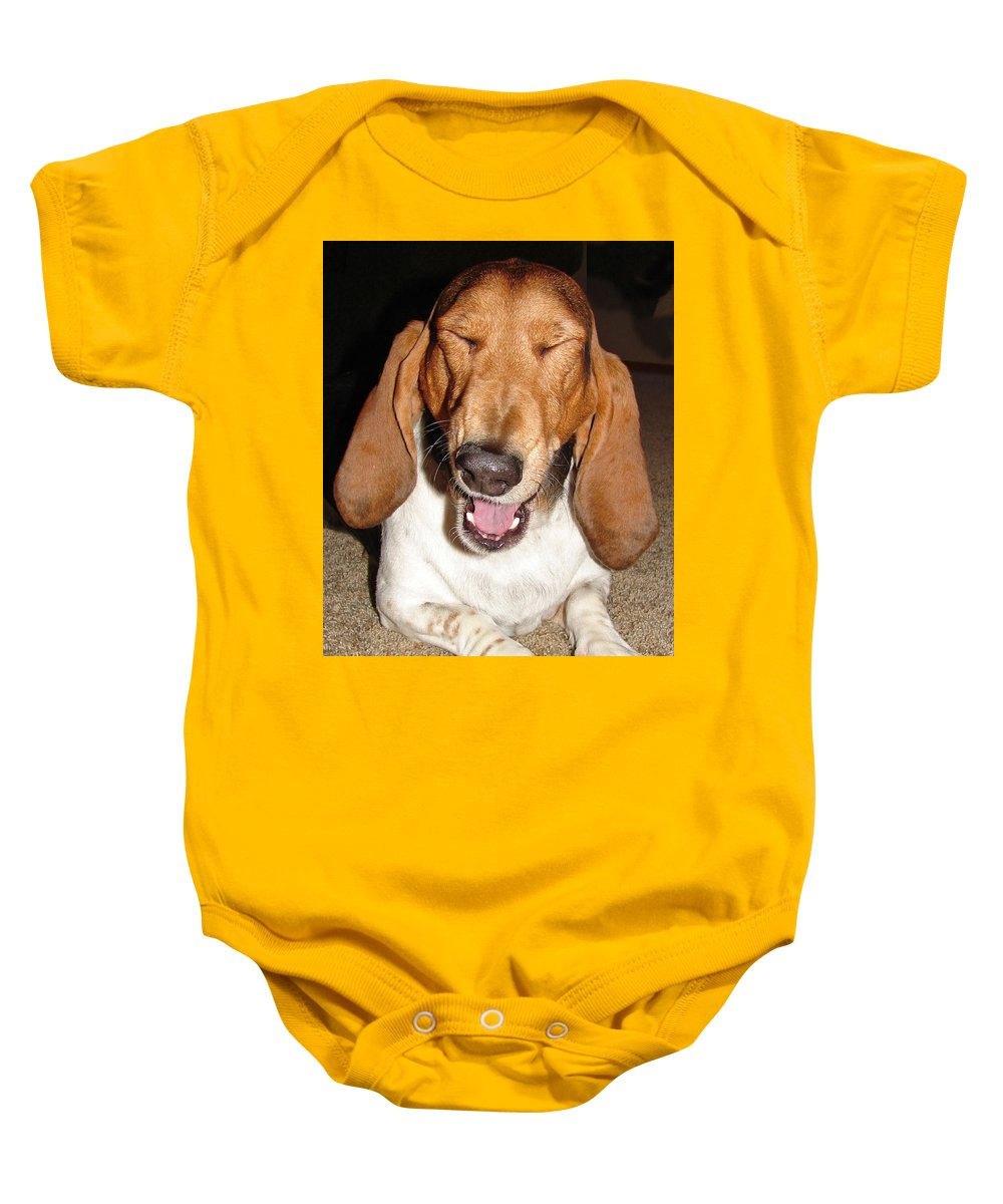 Basset Hound Baby Onesie featuring the photograph Lillard by Heather Coen