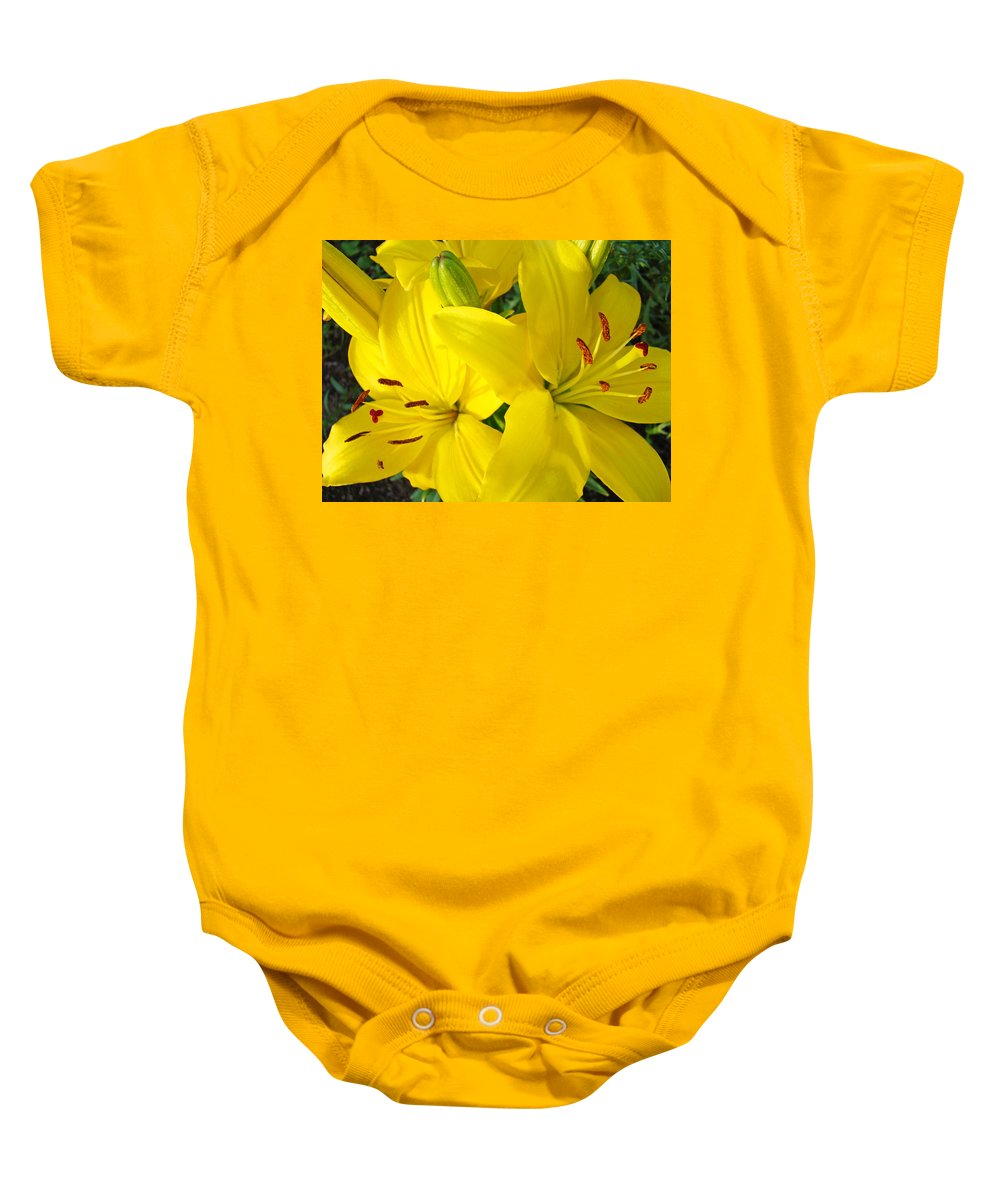 Lilies Baby Onesie featuring the photograph Lilly Flowers Art Prints Yellow Lilies Floral Baslee Troutman by Baslee Troutman