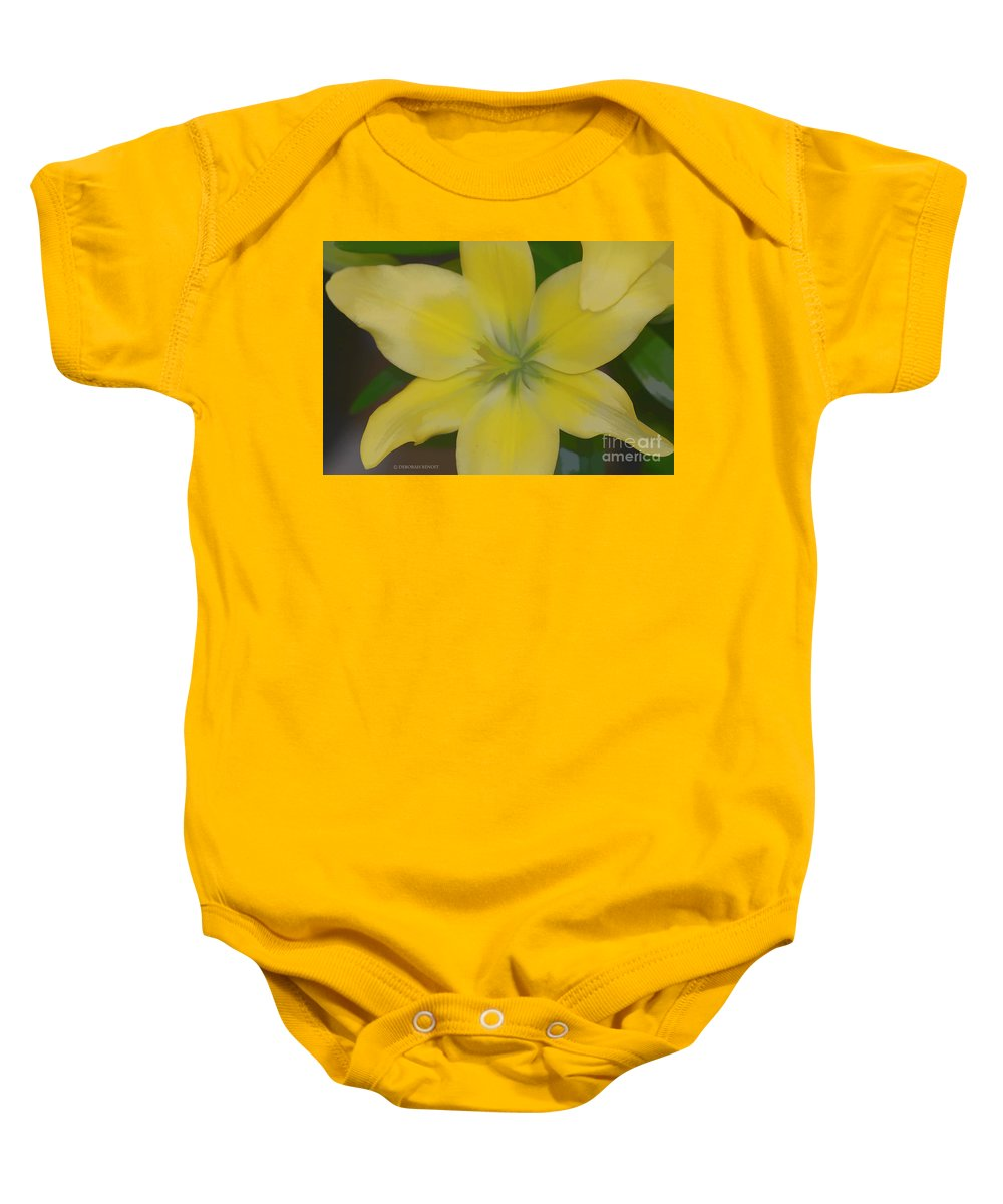 Lilly Baby Onesie featuring the photograph Lilly With Artistic Beauty by Deborah Benoit