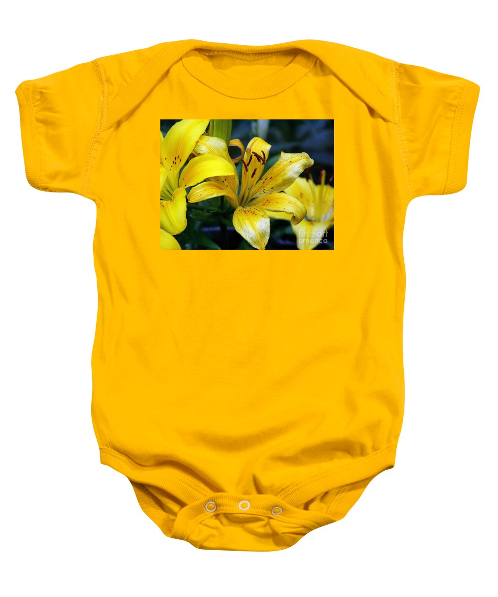 Lilly Baby Onesie featuring the photograph Lily by Amanda Barcon