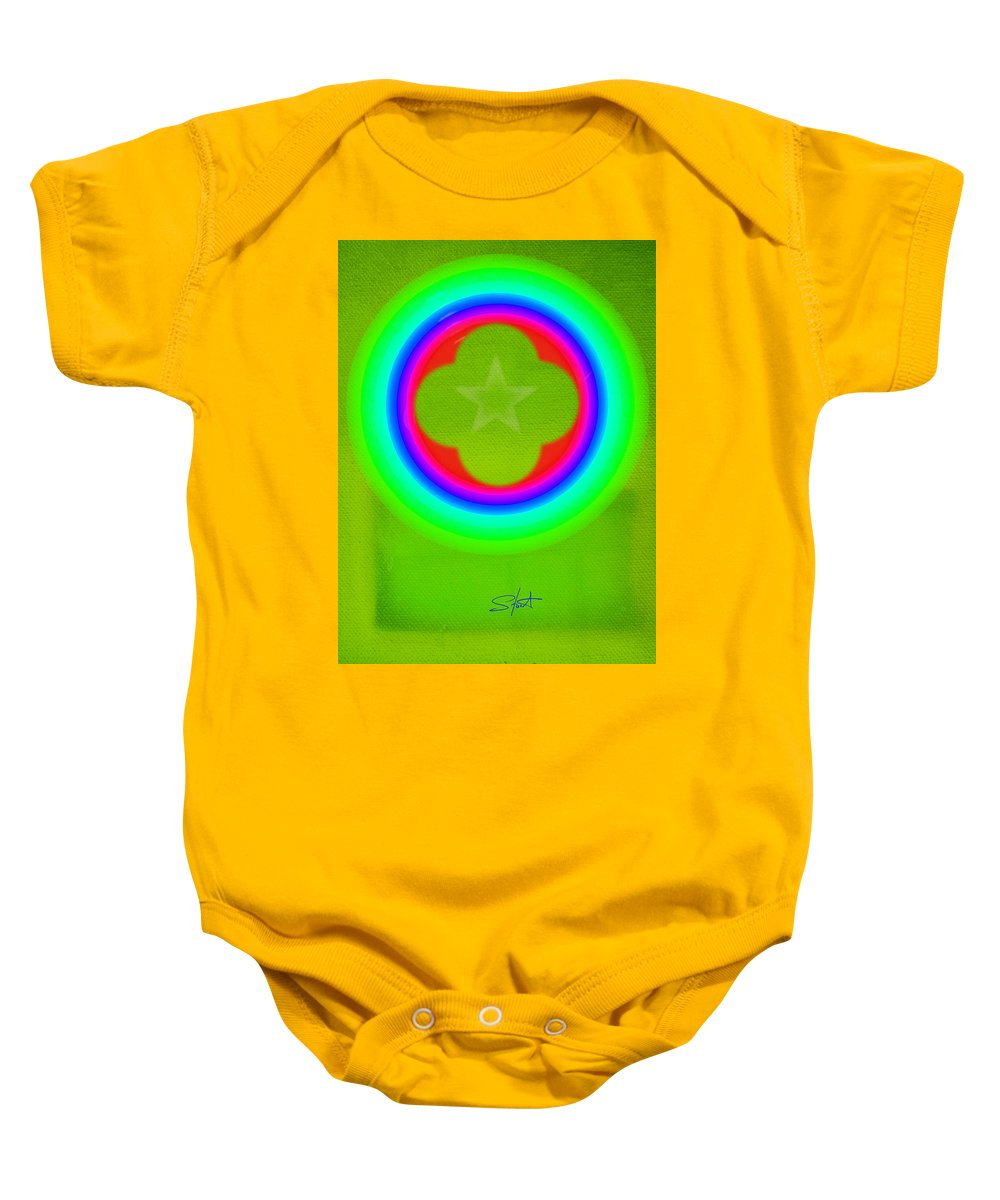 Abstract Baby Onesie featuring the painting Lime by Charles Stuart