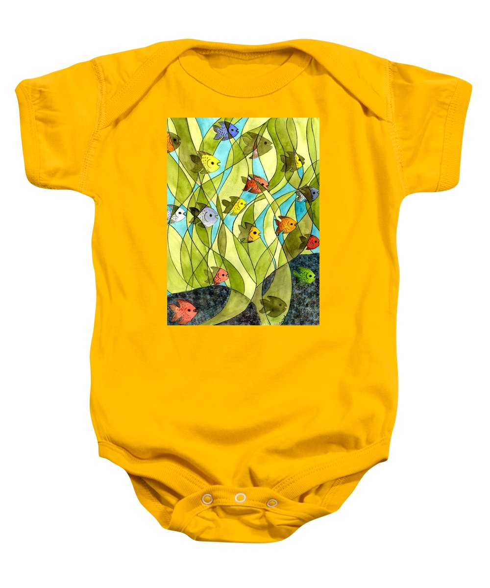 Fish Baby Onesie featuring the painting Little Fish Big Pond by Catherine G McElroy