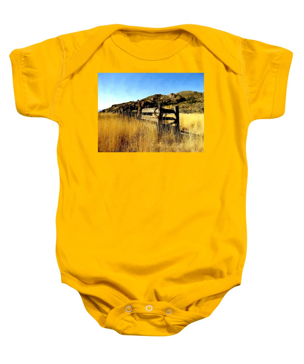 Southwestern Baby Onesie featuring the photograph Livery Fence At Dripping Springs by Kurt Van Wagner