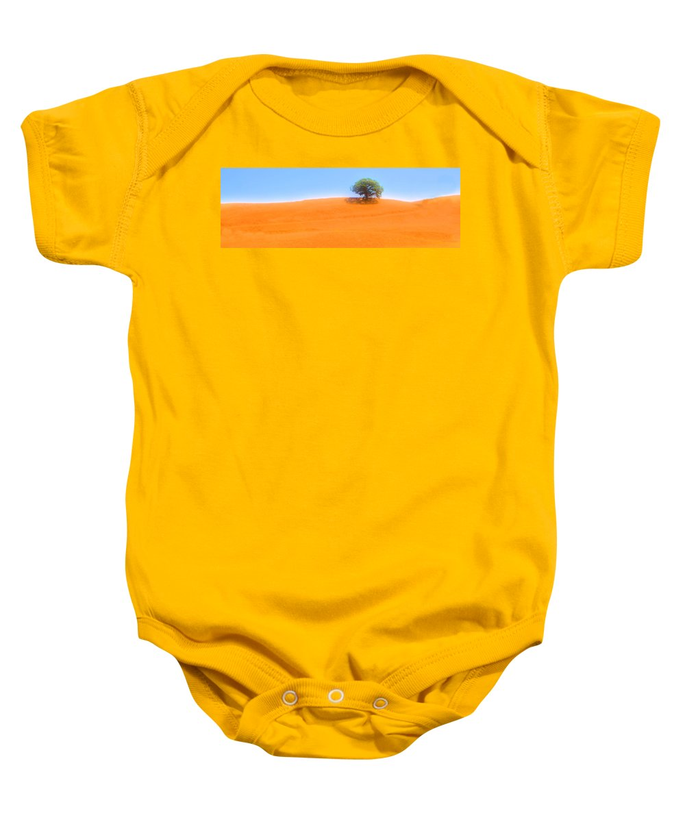 Hillside Baby Onesie featuring the photograph Lonely At The Top by Josephine Buschman