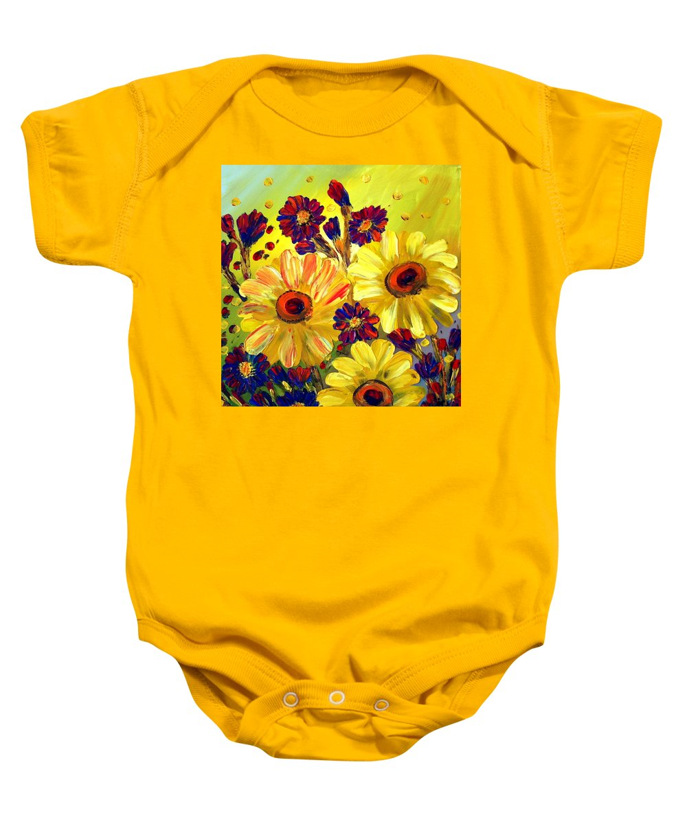 Flowers Baby Onesie featuring the painting Looking At Sun by Luiza Vizoli