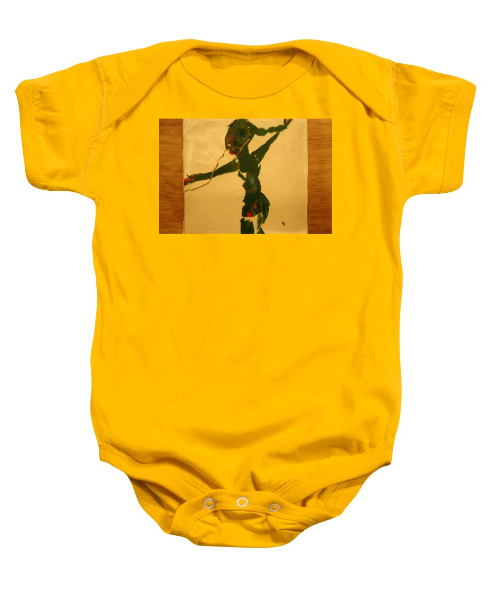 Jesus Baby Onesie featuring the ceramic art Lost - Tile by Gloria Ssali