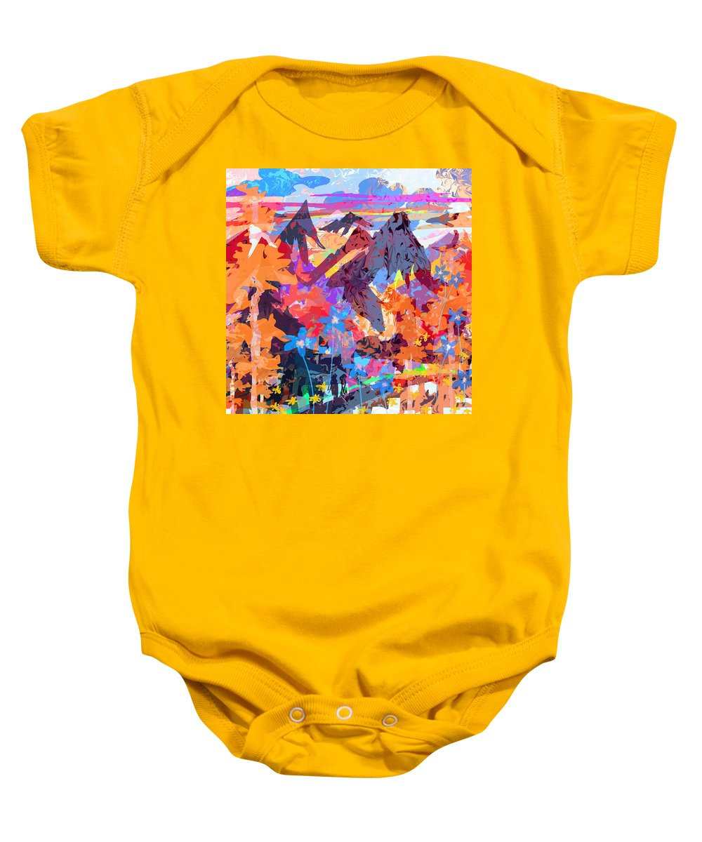 Abstract Baby Onesie featuring the digital art Lost In Colorado by Rachel Christine Nowicki