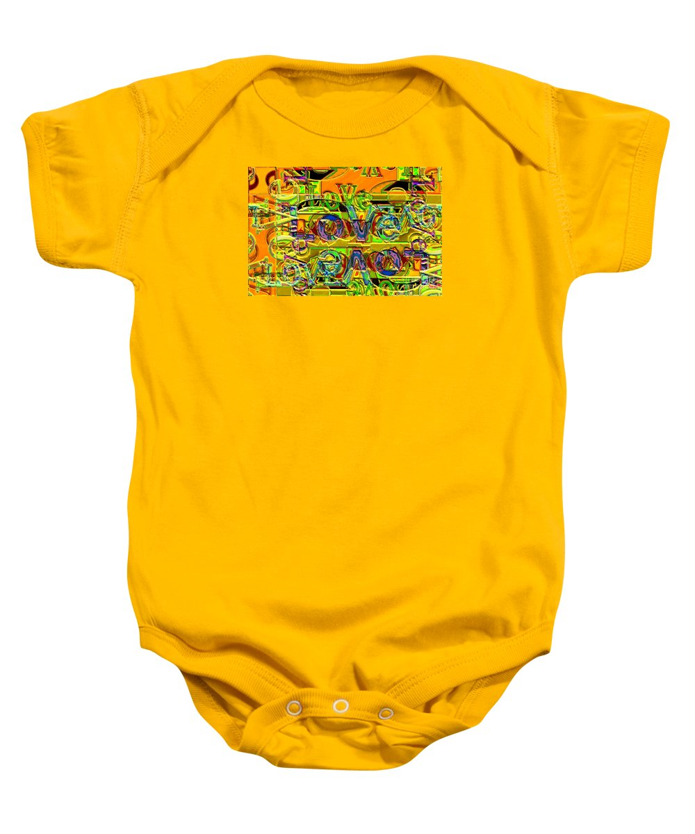 Abstract Baby Onesie featuring the digital art Love Contest by Ron Bissett
