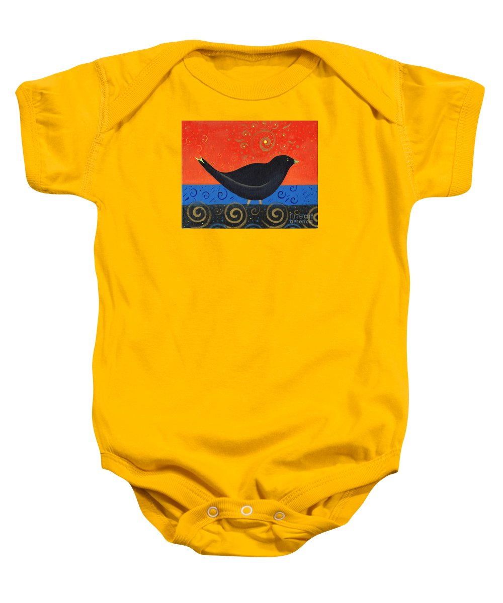Black Bird Baby Onesie featuring the painting Love Of Birds by Helena Tiainen