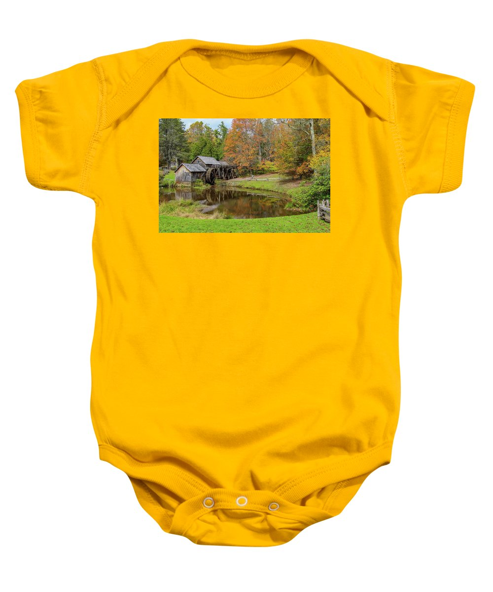 Reflection Baby Onesie featuring the photograph Mabry Mill In Fall 1 by Kevin Craft