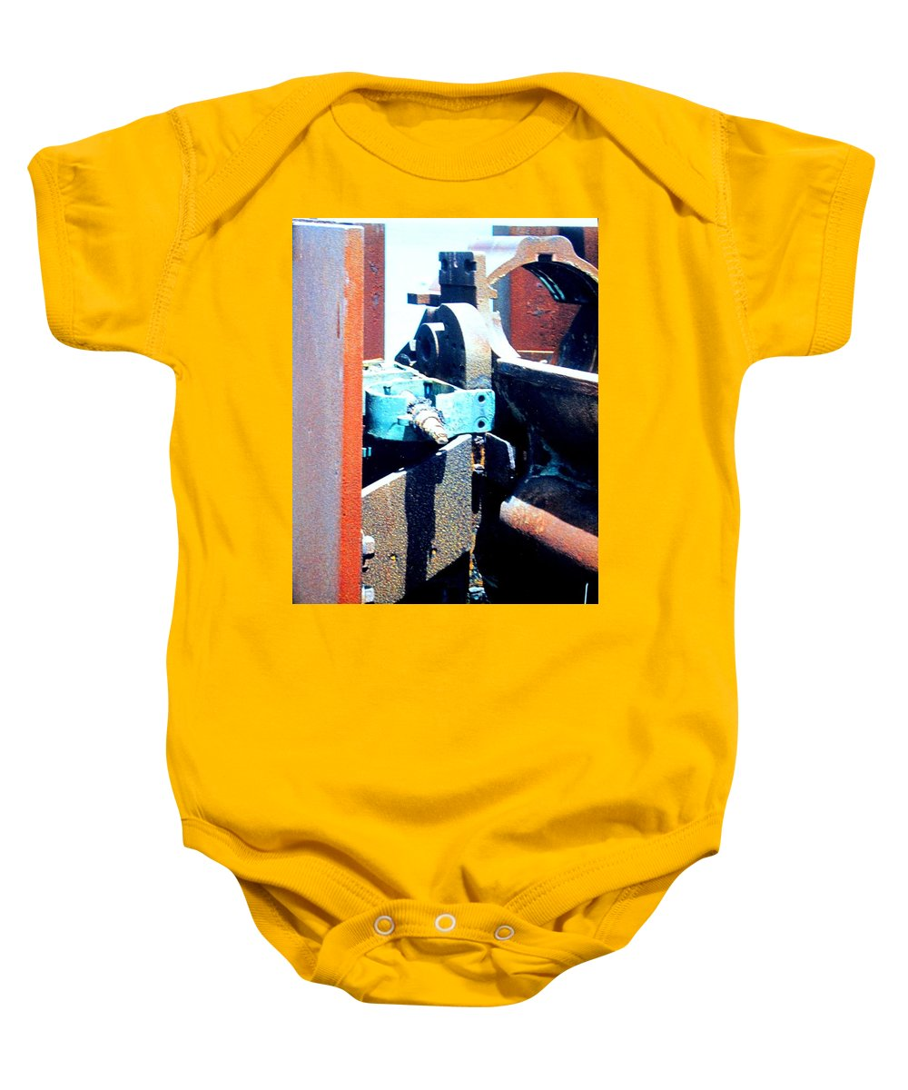 Rust Baby Onesie featuring the photograph Machinery by Ian MacDonald