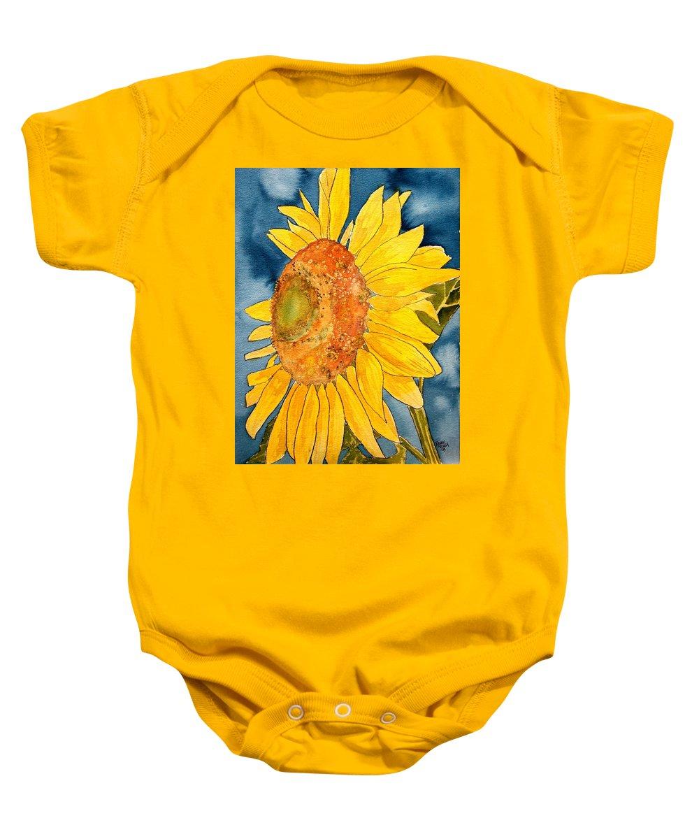 Sunflower Baby Onesie featuring the painting Macro Sunflower Art by Derek Mccrea