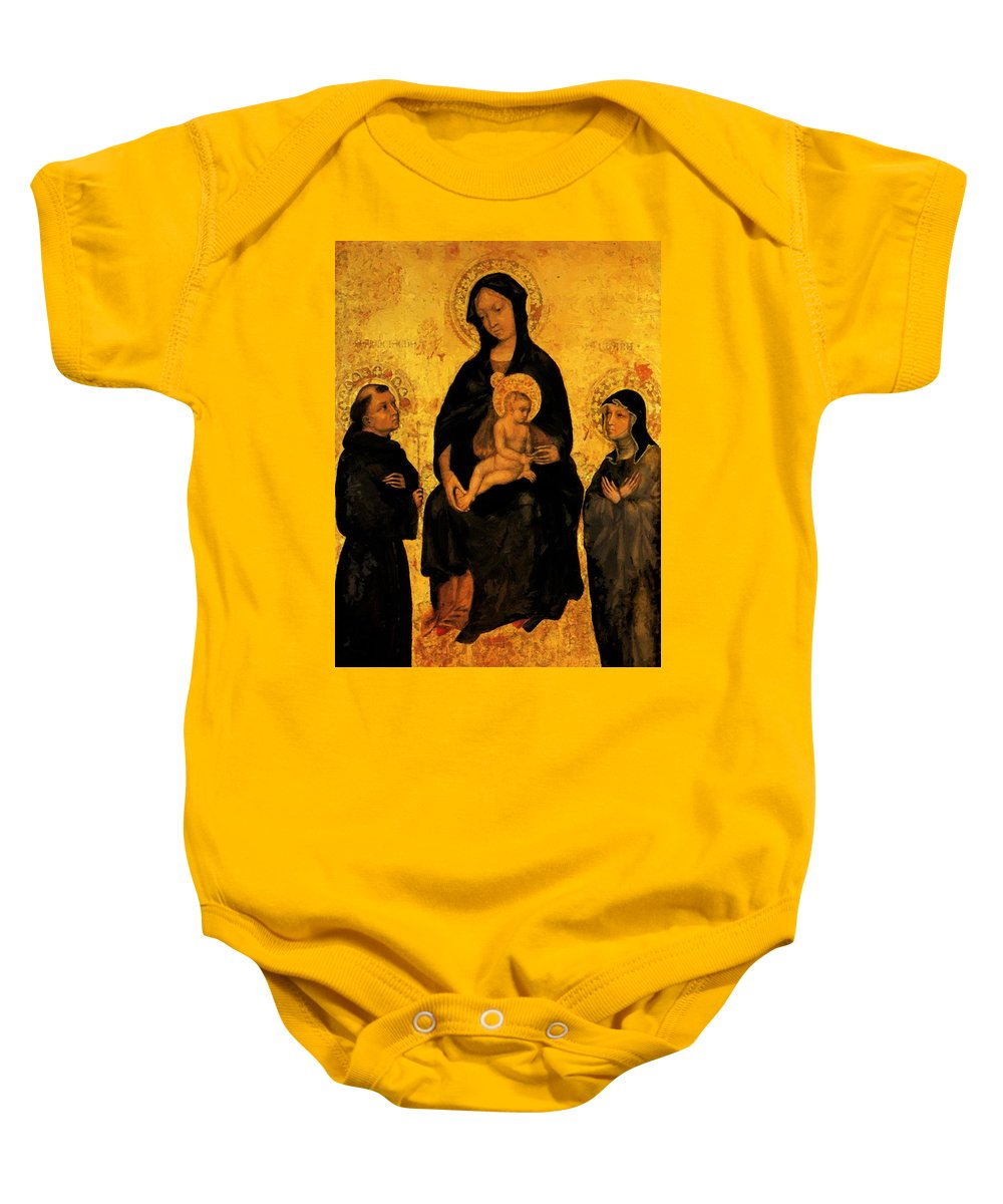 Madonna Baby Onesie featuring the painting Madonna In Gloria Between Saint Francis And Santa Chiara Gentile by Fabriano Gentile da