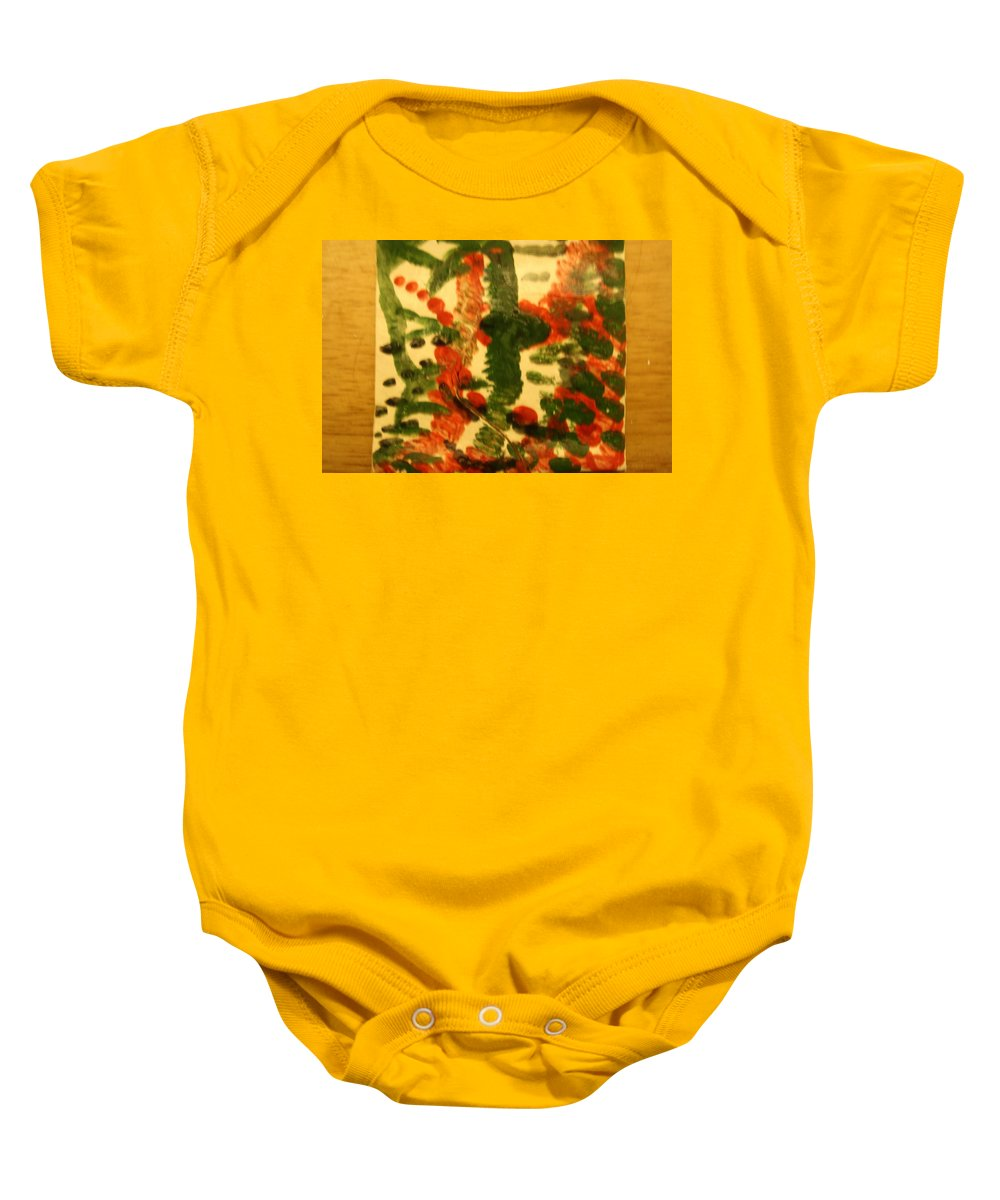 Jesus Baby Onesie featuring the ceramic art Magnetic - Tile by Gloria Ssali