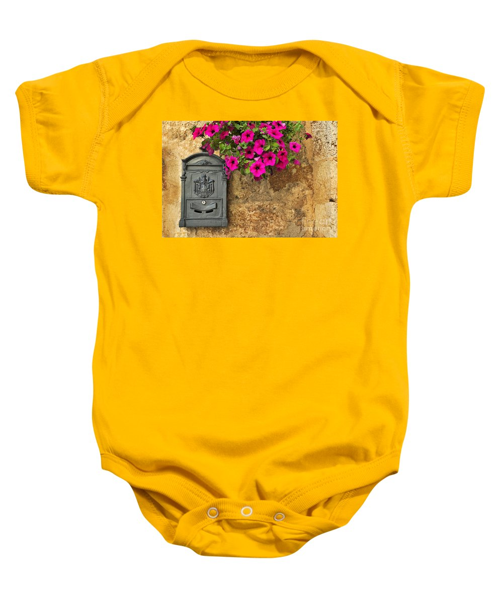Mailbox Baby Onesie featuring the photograph Mailbox With Petunias by Silvia Ganora
