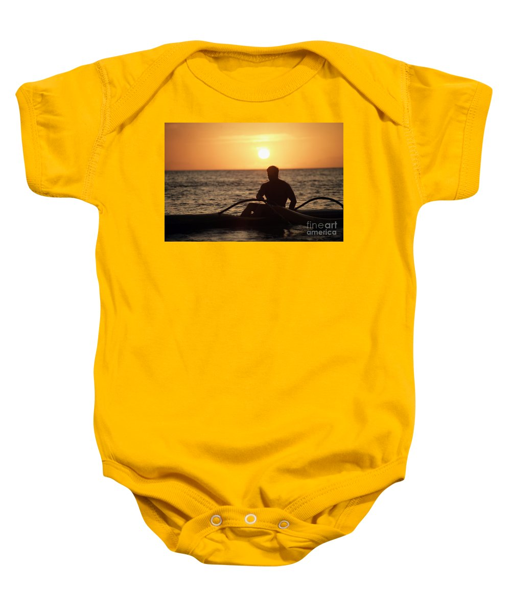 Afternoon Baby Onesie featuring the photograph Man In Canoe by Sri Maiava Rusden - Printscapes