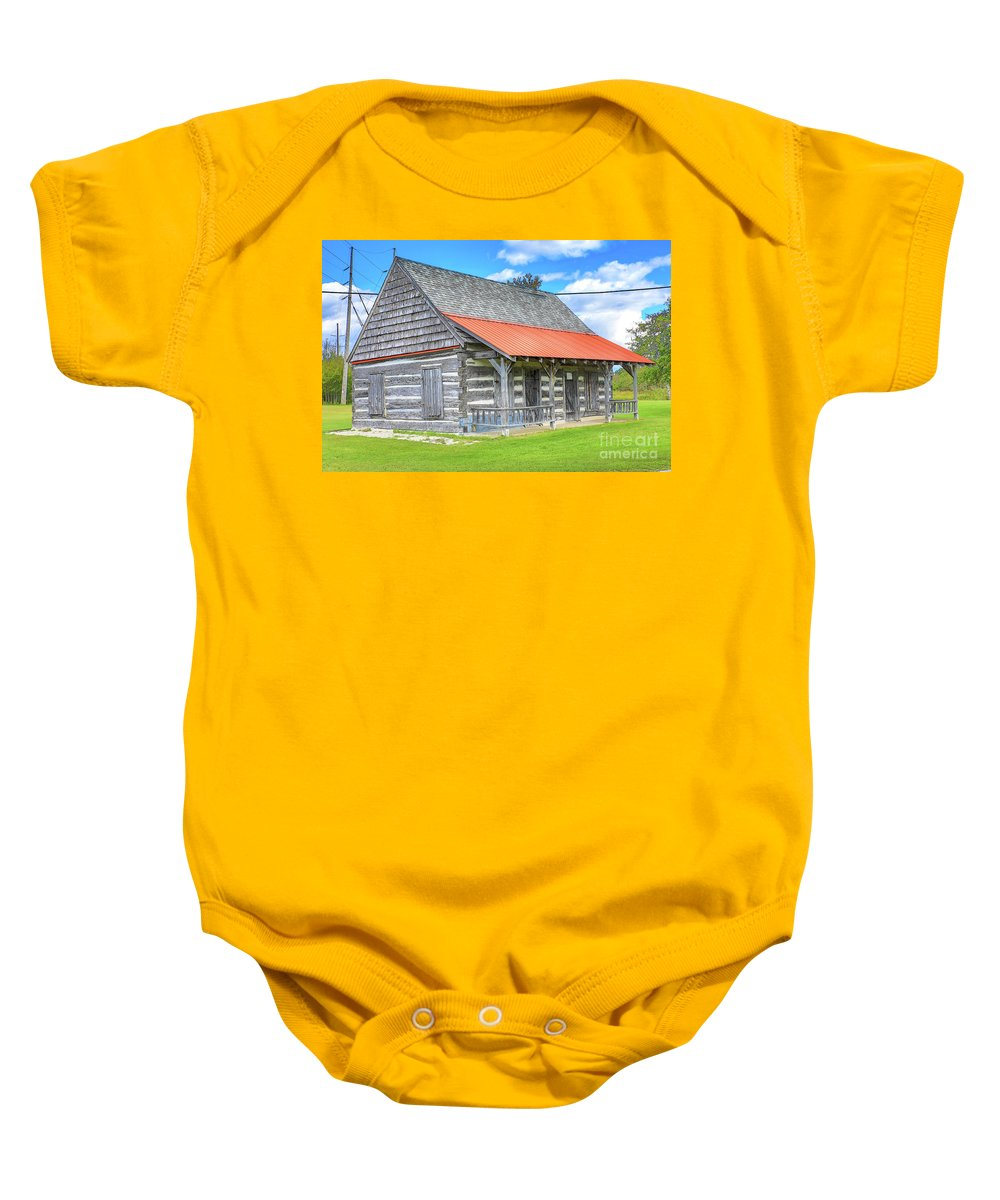 Manistique Baby Onesie featuring the photograph Manistique Schoolcraft County Museum Log Cabin -2158 by Norris Seward