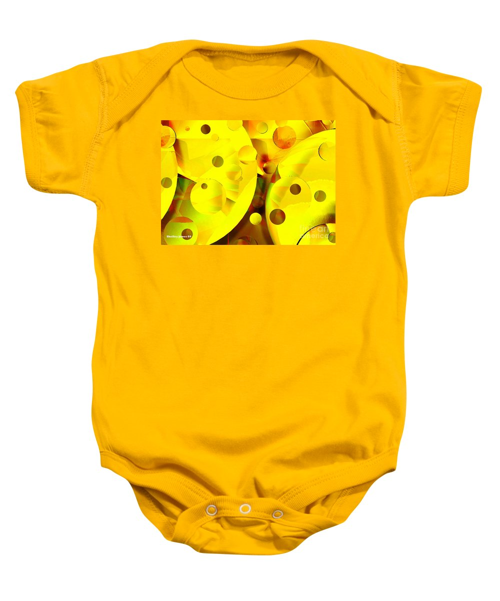 Suns Baby Onesie featuring the digital art Many Suns by Shelley Jones