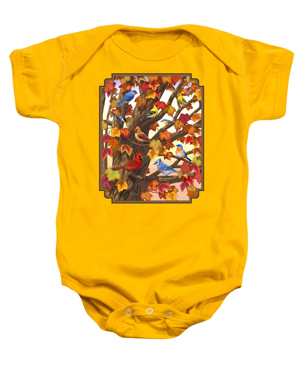 Bird Baby Onesie featuring the painting Maple Tree Marvel - Bird Painting by Crista Forest