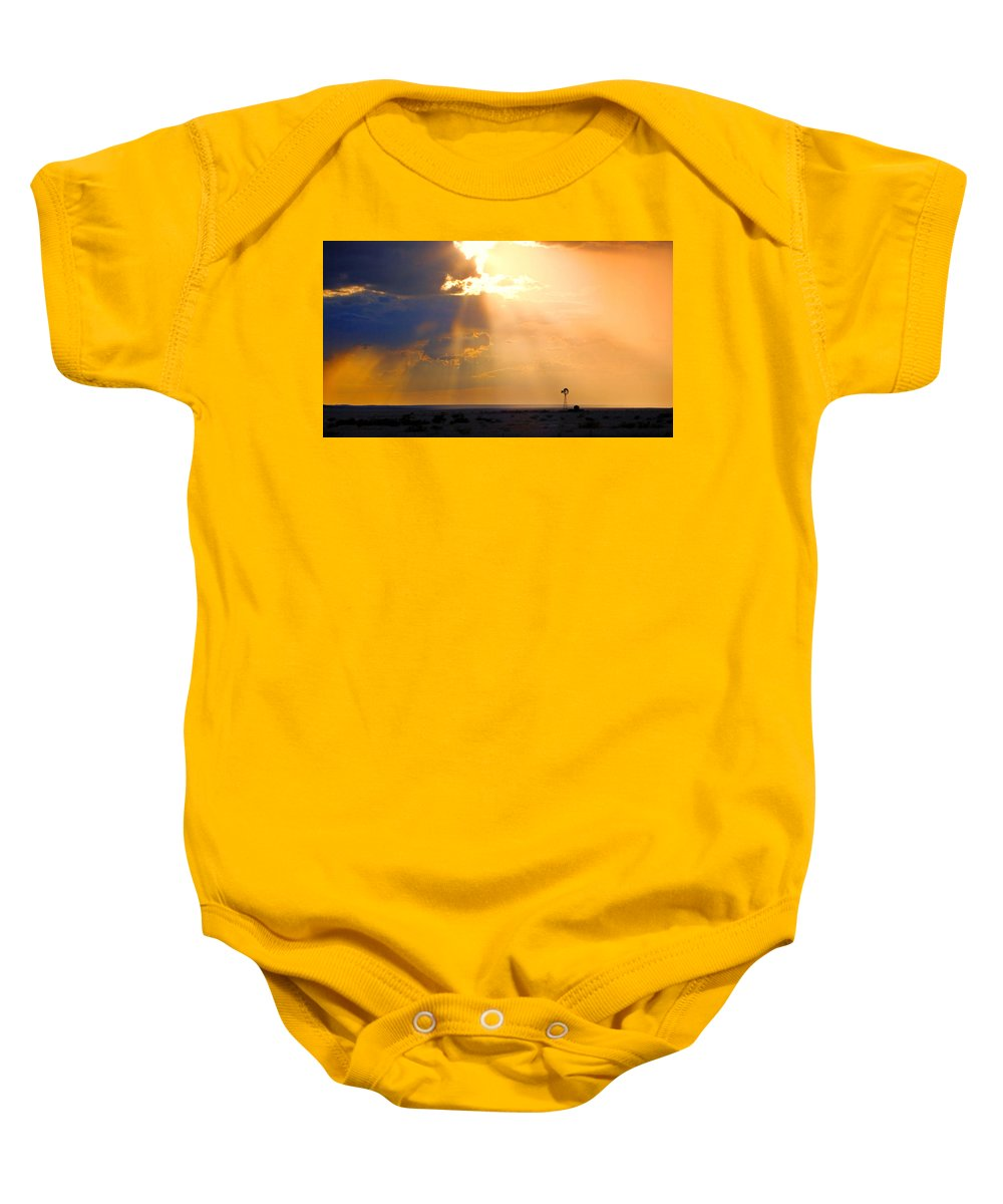 Skip Hunt Baby Onesie featuring the photograph Marfa Windmill 1 by Skip Hunt