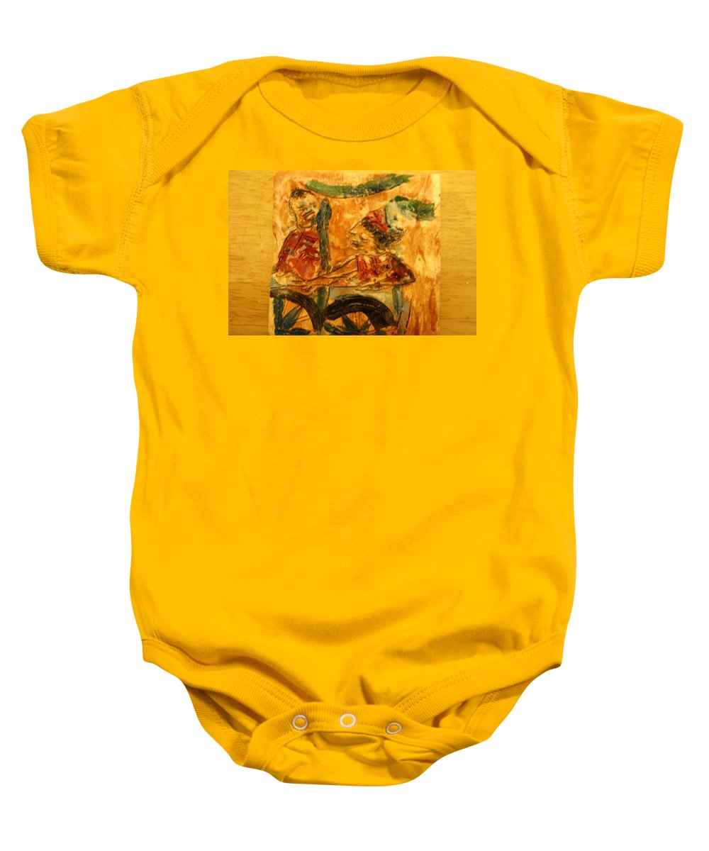 Jesus Baby Onesie featuring the ceramic art Marge And Bill - Tile by Gloria Ssali
